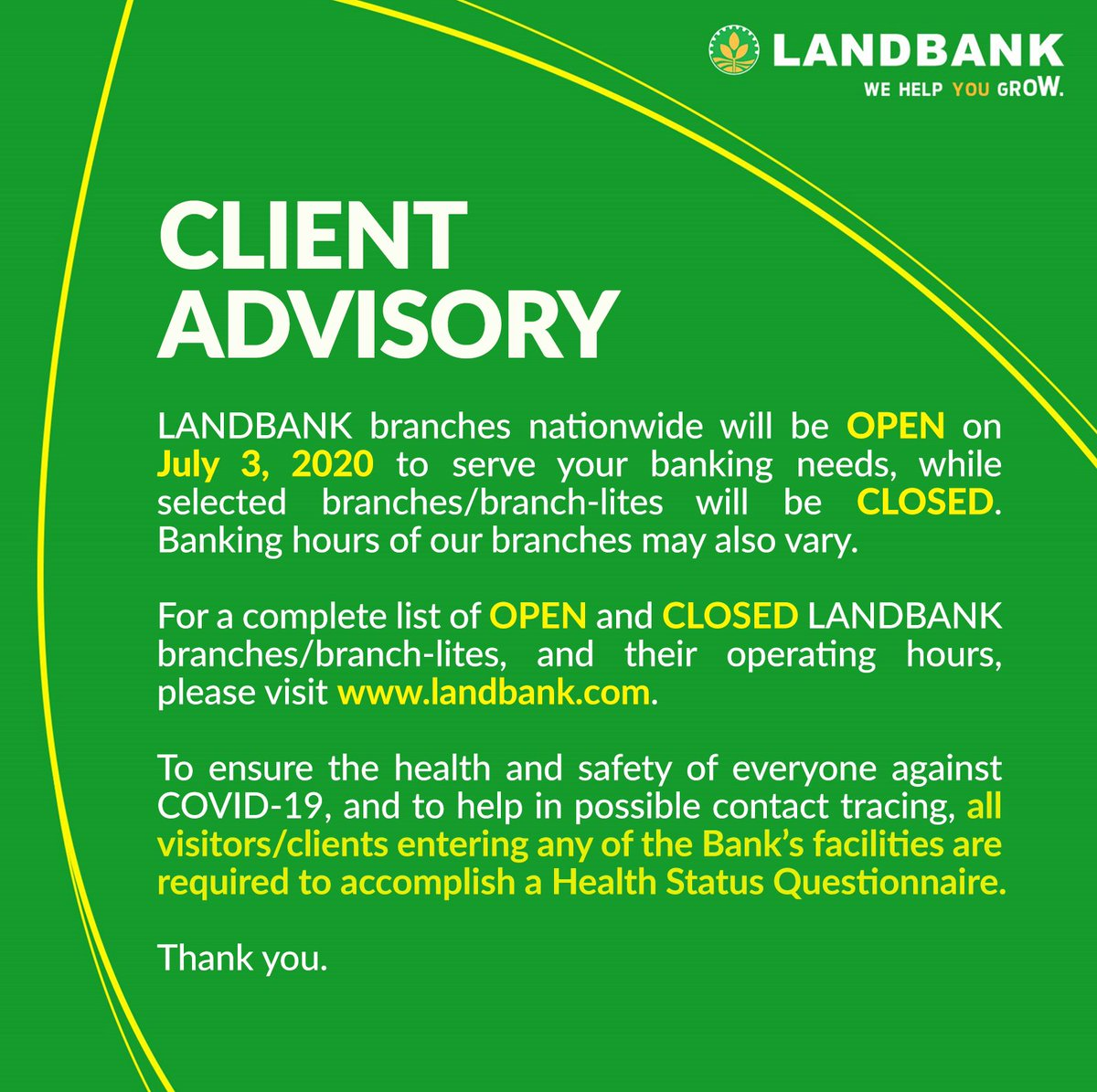 #LANDBANKClientAdvisory  To see the full list of OPEN branches, visit https://t.co/ecU5UBjSs2  To see the full list of CLOSED branches, visit https://t.co/k9xyEq8zv6 https://t.co/GArUxS3VOY