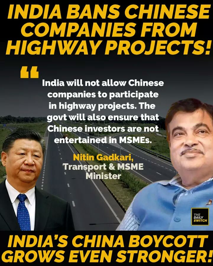 Well done @narendramodi ji  & @nitin_gadkari ji   Investments in Highway projects & MSMEs = No for Chinese companies  @PMOIndia @minmsme<br>http://pic.twitter.com/6QR5yxRy0W