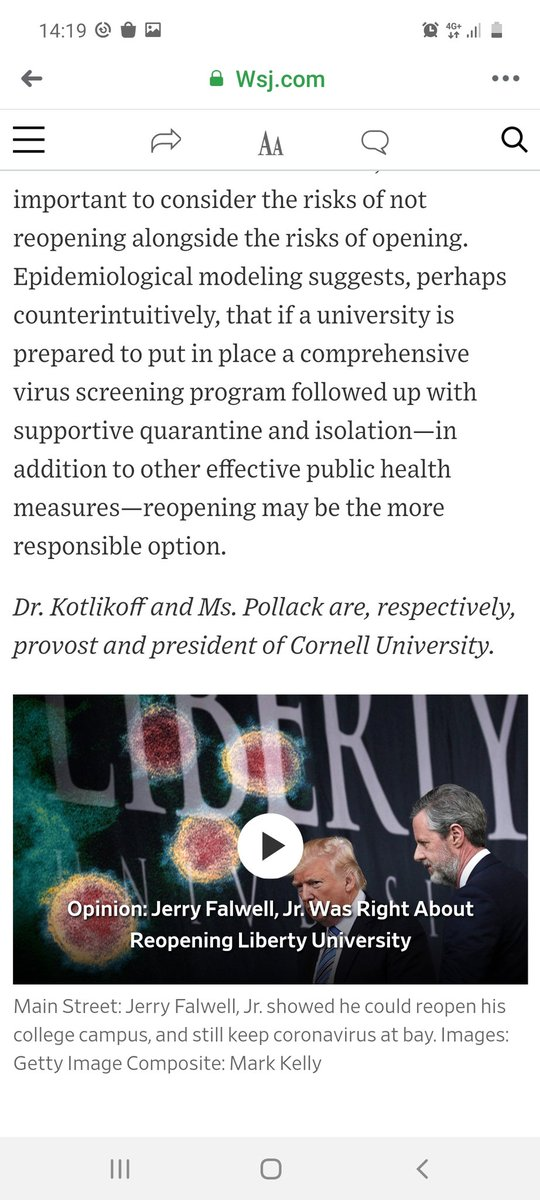 WSJ posts an oped on Cornell campus reopening in the fall 2020. Notice the difference in how the male provist and the female president (both PhD holders) are referred to? #wsj #WomenInScience <br>http://pic.twitter.com/PNfT9jrCW1