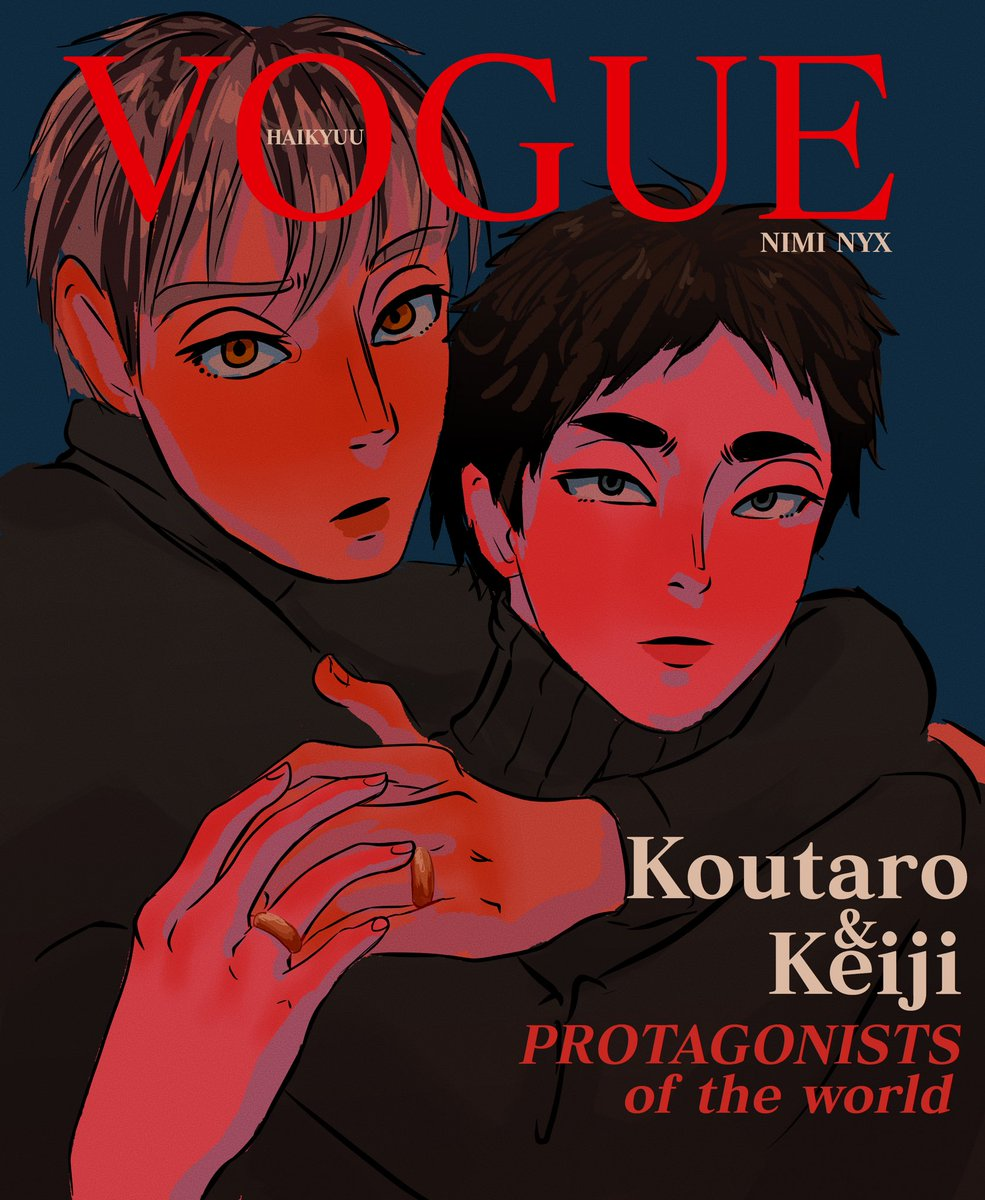 MSBY wing spiker and shounen manga editor couple made it in the front cover!! Bec #bokuaka are a power couple   (is it too late for #VogueChallenge ?) pic.twitter.com/d8SEF0k1l5  by Nimi (do not qRT art)
