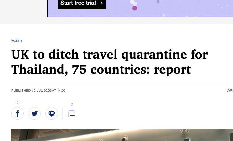 ditch เมื่อเป็นคำนามแปลว่า ไหล่ถนน คู คลอง แต่เมื่อเป็นกริยาแปลว่า ทิ้ง ยกเลิก UK (is) to ditch travel quarantine for Thailand, 75 countries: report = มีรายงานว่า สหราชอาณาจักรจะยกเลิกการกักตัวนักท่องเที่ยวจากประเทศไทยและอีก 75 ประเทศ UK = United Kingdom = สหราชอาณาจักร