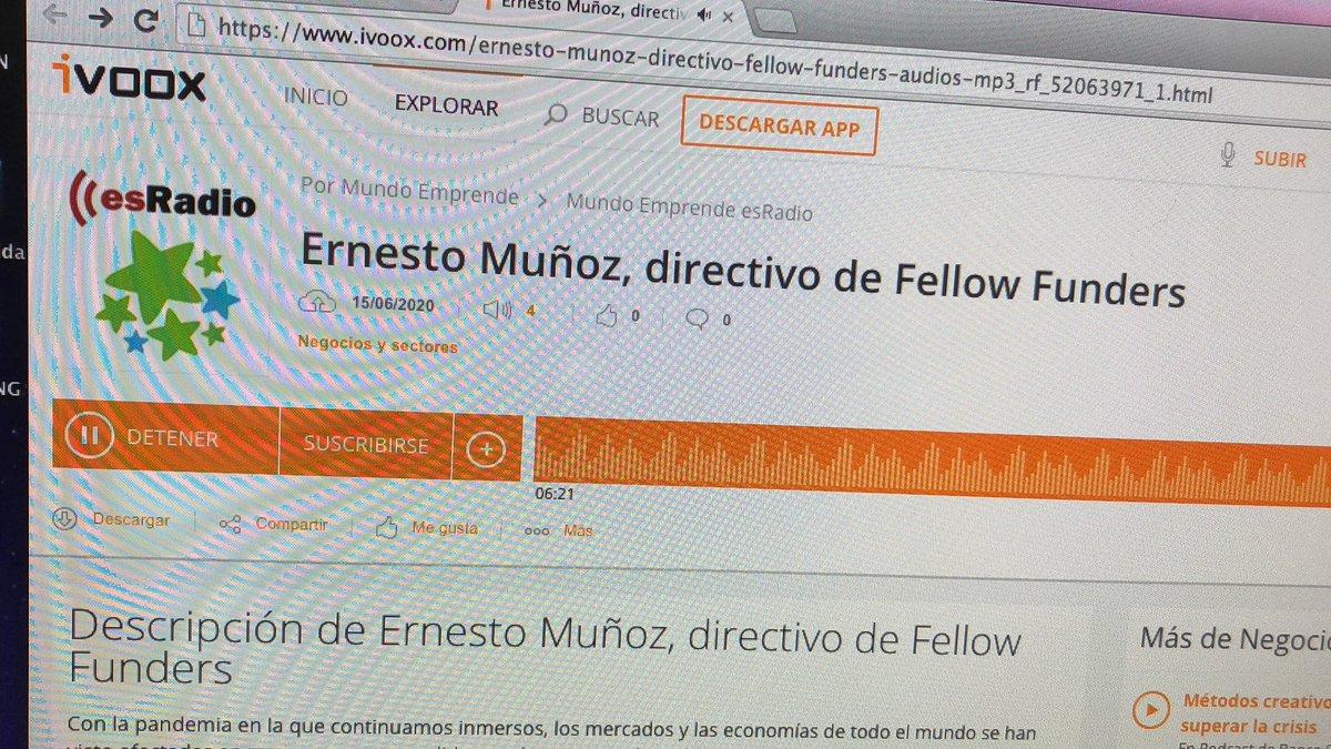 Inversión y #emprendimiento . Escucha entrevista en @mundoemprende1 con Ernesto Muñoz d @Fellow_Funders . #crowdfunding , valor de las empresas, boutique financiera y asesoría para cotizar #mab y #Euronext  https://t.co/b1hd8tphVP https://t.co/u0lNTYKW7O