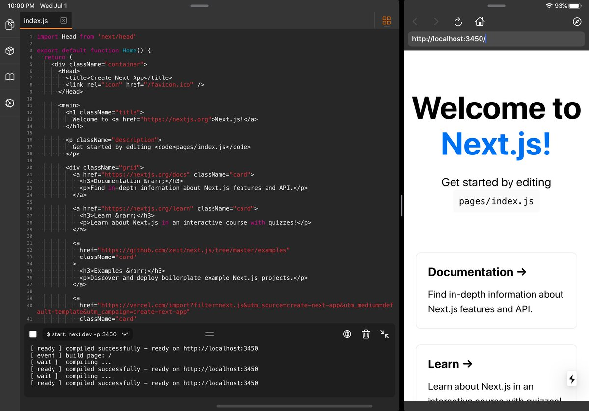 play.js 2.3.0 is here , this time:  ▲ Develop and test locally Next.js apps and deploy them to @vercel without effort   Easily manage your @npmjs dependencies in the new screen   Speed up your workflow with the new copy & paste options  #nodejs #reactjs #nextjs #webdev <br>http://pic.twitter.com/HDa48kNP3N