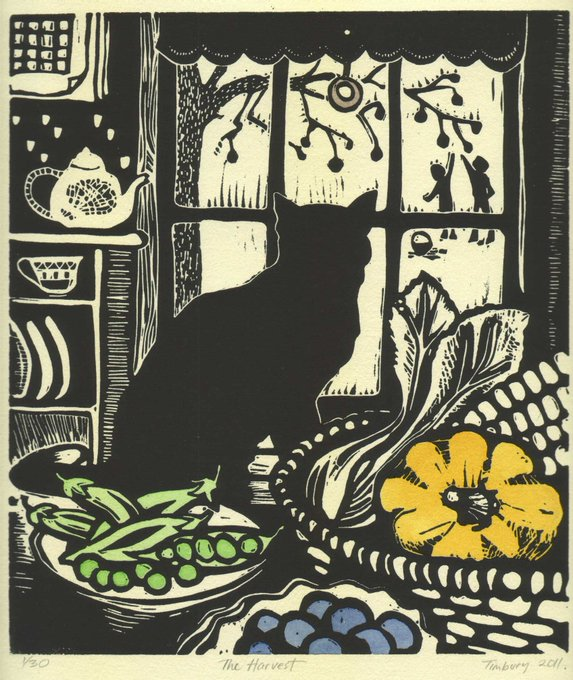 In Scottish folklore a strange black cat's arrival to the home signifies prosperity and good luck. It is believed that a woman who owns a black cat will have many suitors. #FolkloreThursday Art by contemporary printmaker Helen Timbury #womensart<br>http://pic.twitter.com/G40dJOP3KG