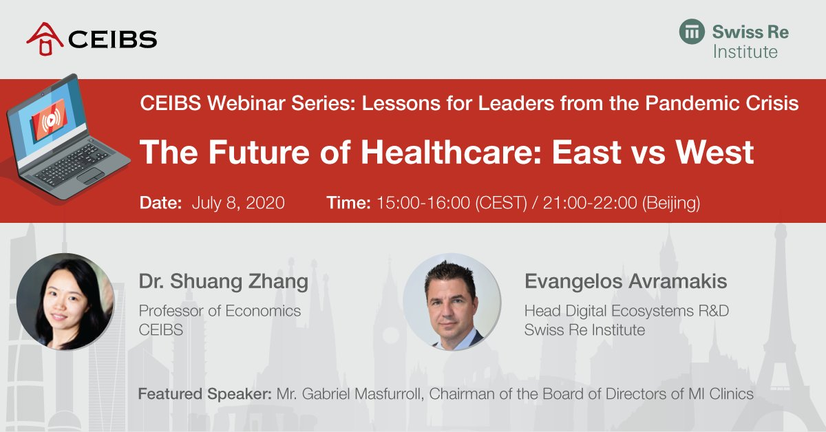 Never before have global #healthcare systems been under such scrutiny. Join our upcoming July 8 webinar to hear @CUBoulder Prof Shuang Zhang + @SwissRe Institute's Evangelos Avramakis discuss the implications of #COVID19 on the health sector. Sign up https://t.co/CXJTOqNXuh https://t.co/RfNiT1HSKC