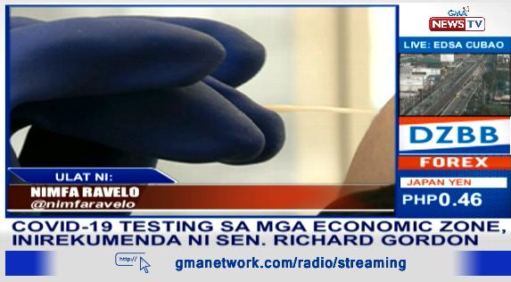 COVID-19 testing sa mga economic zone, inirekumenda ni Sen. @DickGordonDG. | via @nimfaravelo
