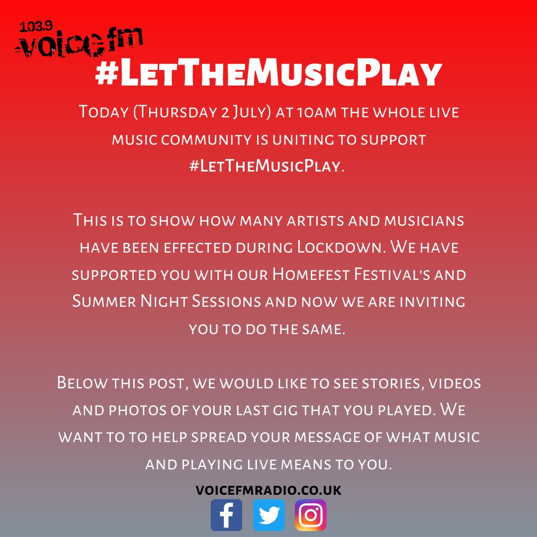 Calling all musicians and artists to post their stories, photos and videos of their last gig.  We've got your backs 🙌  #LetTheMusicPlay https://t.co/jw0tBFMXny