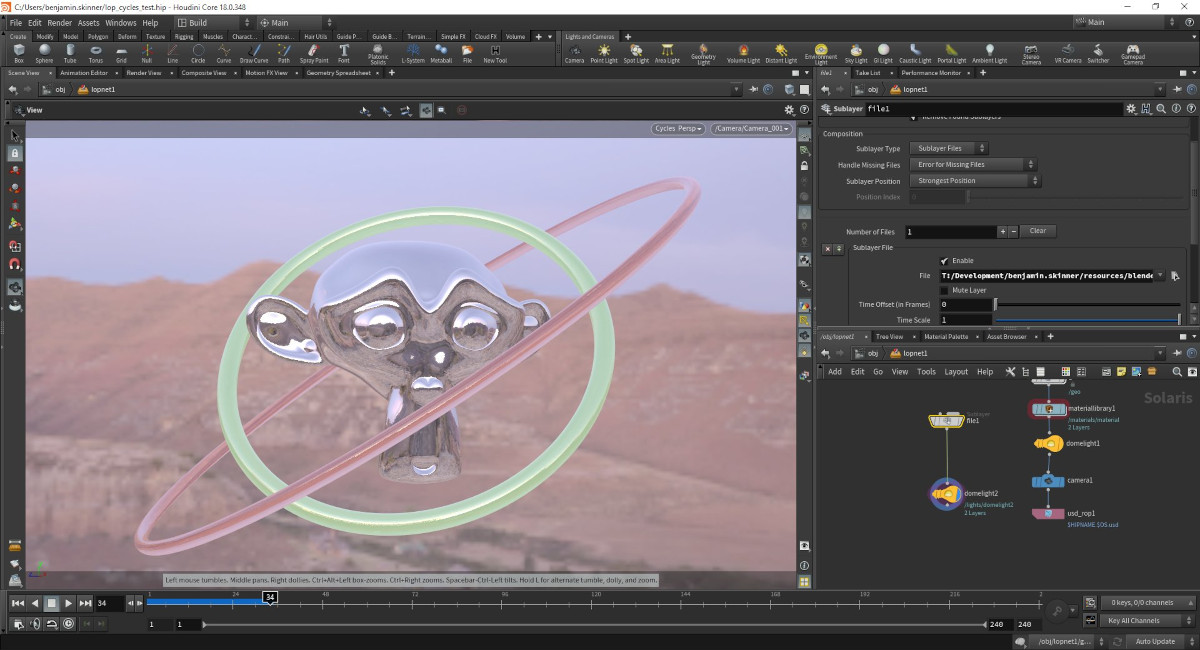See Blender's Cycles renderer running in the #Houdini viewport, thanks to some nifty work from @tangent_anim to make Cycles available as a Hydra render delegate within Houdini's #Solaris #lookdev toolset #Blender3D #VFX