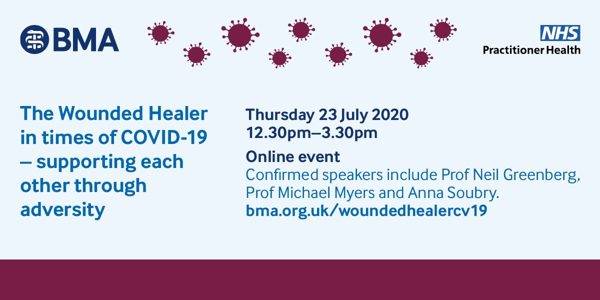 Three weeks to go for our #WoundedHealerCV19 free joint conference @NHSPracHealth @TheBMA Great speakers, great topics - Thursday 23rd July 12.30 Register here: bma.org.uk/events/the-wou…