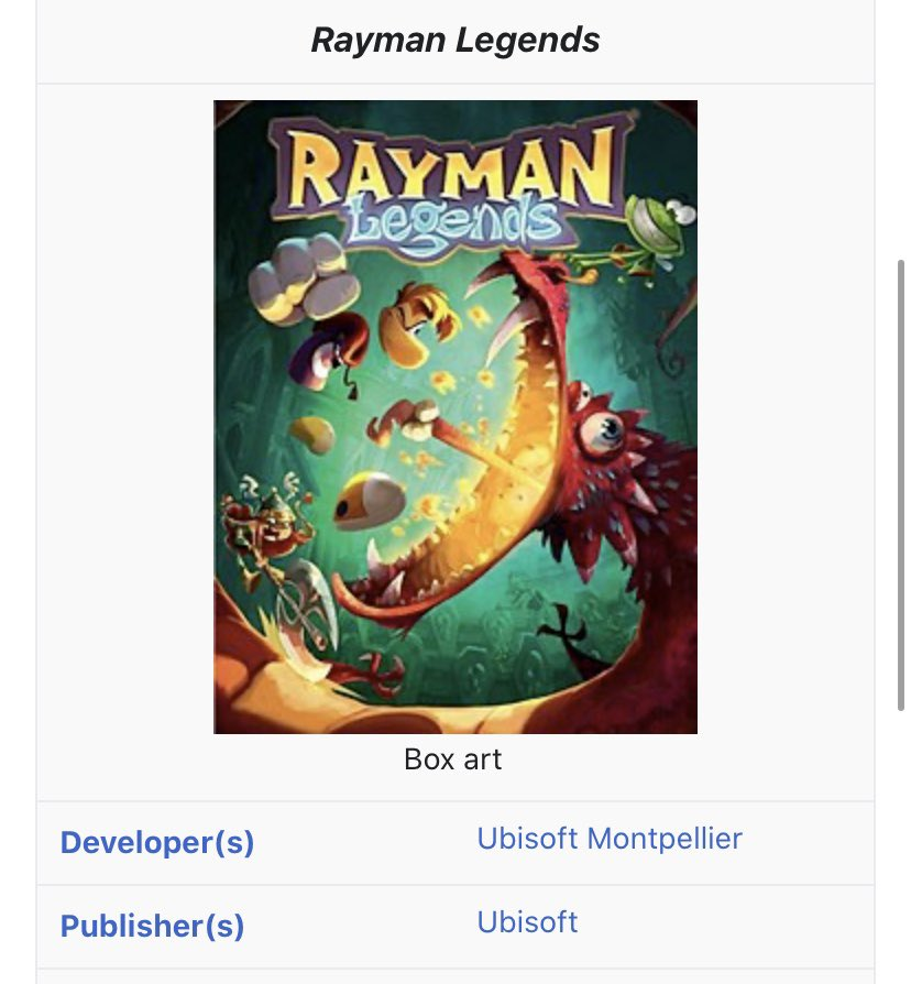 """was looking at rayman games Wikipedia pages and saw rayman legends has a """"COVID 19 Pandemic"""" tab https://t.co/DW20G2nsC6"""