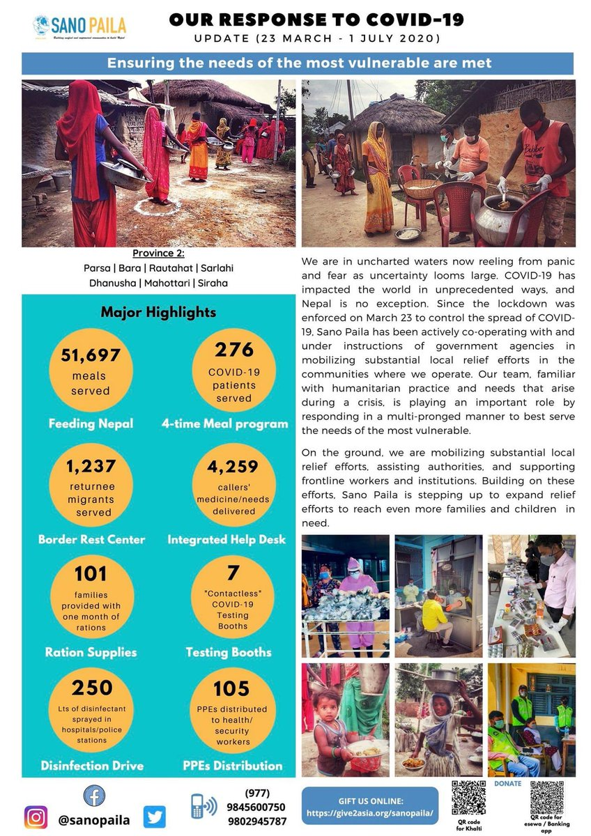 Major Highlights Of Our Response Efforts Around #COVID19  As of July 1,we've served 51,697 hot meals to daily wagers, members of Dalit communities,&the disadvantaged in Province 2.Our border reception centre in Mahottari has served over 1,200 returnee migrants providing meals,... https://t.co/Czhv5luxT2