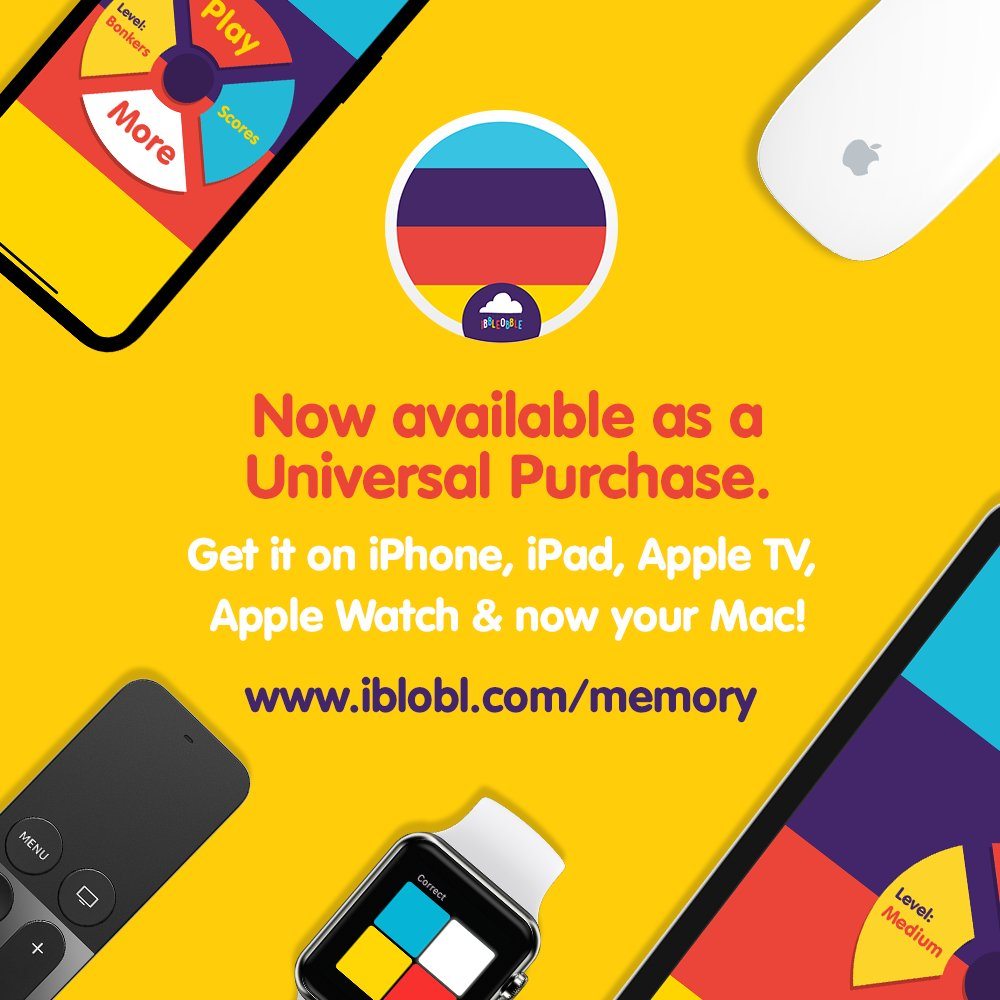 #Memory #game for #Ibbleobble is now available as a #UniversalPurchase!   This means you can now play this #Braintraining #app on #iPhone #iPad #AppleTV #AppleWatch and Now on you #Mac #Desktop  👉 https://t.co/jyG1ZxoVIl   #ThursdayMotivation #ThursdayMorning #ThursdayThoughts https://t.co/QwXbVcw2rP