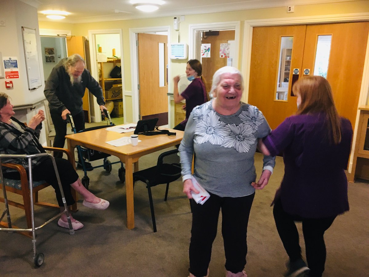 who said an early morning #dance after #breakfast isn't good for you😜so many #laughs and #happy #faces  #teamwork #goodtimes #interactive #motivated #ThursdayThoughts #thursdaymorning #thursdayvibes #ThursdayMotivation #carehome #godstone #dementia #surrey #dancing #exercise 💃 https://t.co/Jhr0gE9za5