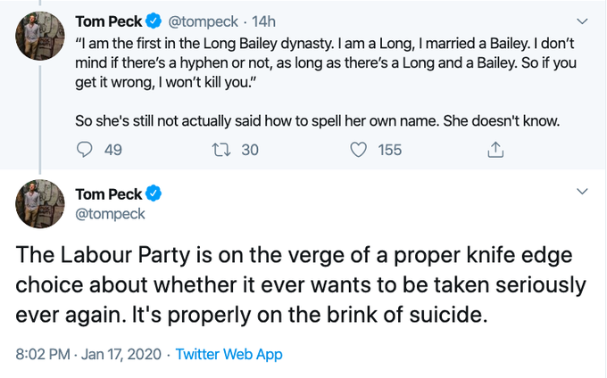was just looking for something unrelated and accidentally found this political commentator pretending that Rebecca Long Bailey does not have the mental faculties to decide what her own name is <br>http://pic.twitter.com/fHCX5H6EPf