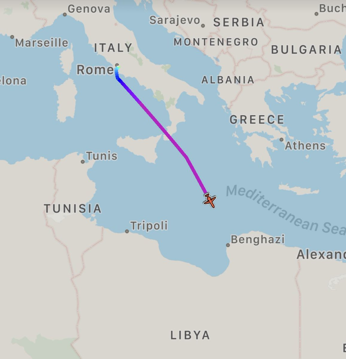 Italian Intelligence Dassault Falcon-900EX is flying from Rome Ciampino to Benghazi Benina #Libya.