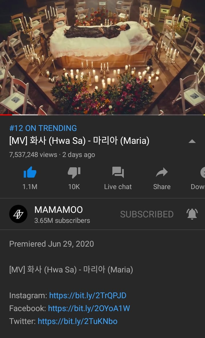 6KST Update  Hwasa- María 7,537,248 views  Watch the MV here:  https:// youtu.be/brZRDjFIFJs      Moomoos, remember once Hwasa's stage will be uploaded later make sure to watch it because it's also a great help to give her a win. @RBW_MAMAMOO<br>http://pic.twitter.com/BcO5BKvZrK