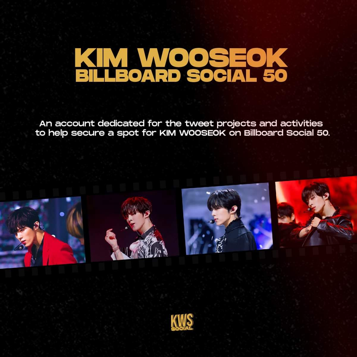 Hello! This is KWS Social! This account is dedicated to help secure a spot for Kim Wooseok on Billboard Social 50. Help us join our project daily by tagging @KWS_official_ and using the hashtag #KIMWOOSEOK  Let's make it happen! 💕 https://t.co/KzlIr3KEqV