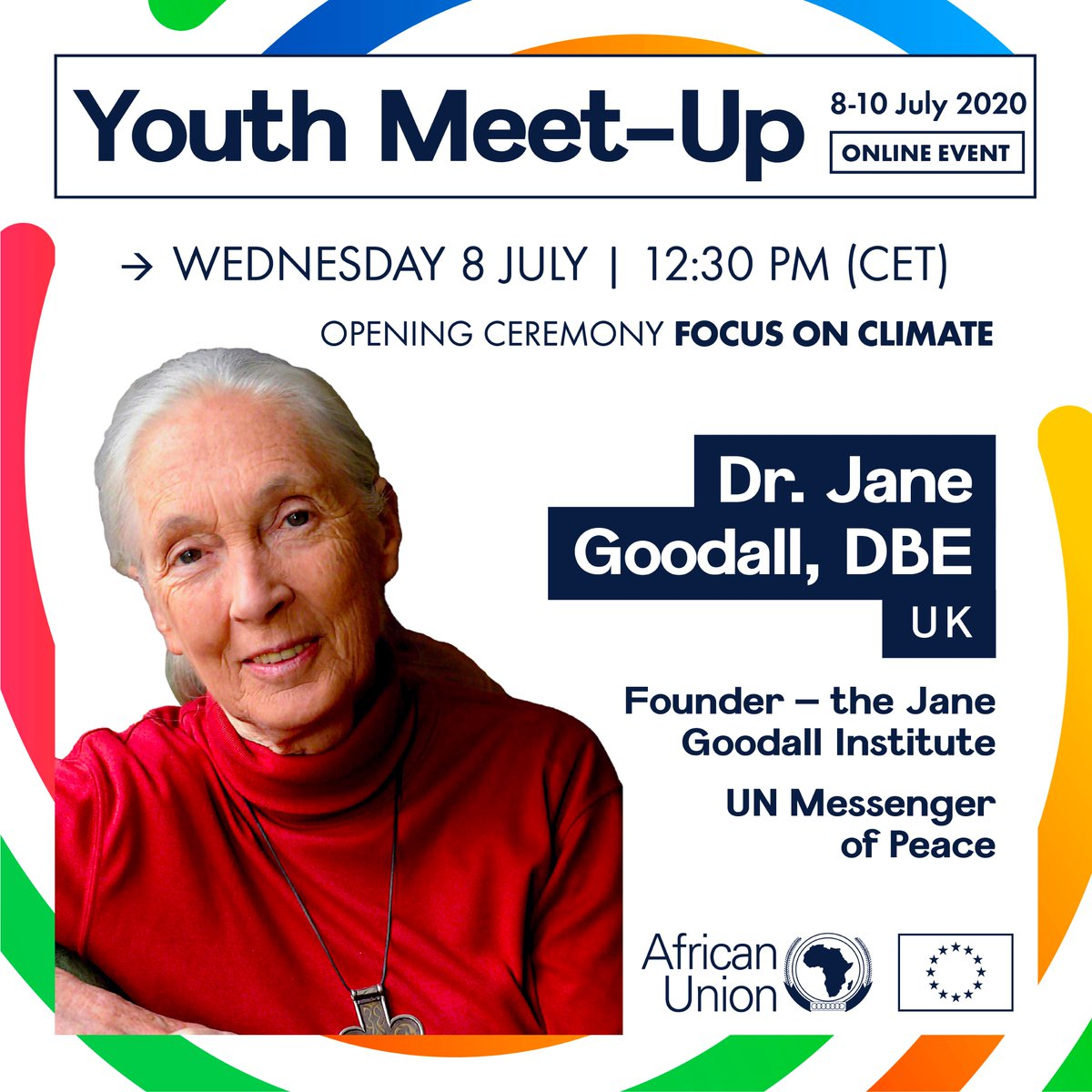 It is our honour that @JaneGoodallInst is speaking at the #AUEUMeetUp Focus on #Climate Opening Ceremony.  A global #conservation leader, her courage & tenacity will surely inspire all #AU #EU #youth to design a #greener world.  Mark your calendar: 8 July 12:30 PM #environmentpic.twitter.com/xTjoU9KJjp