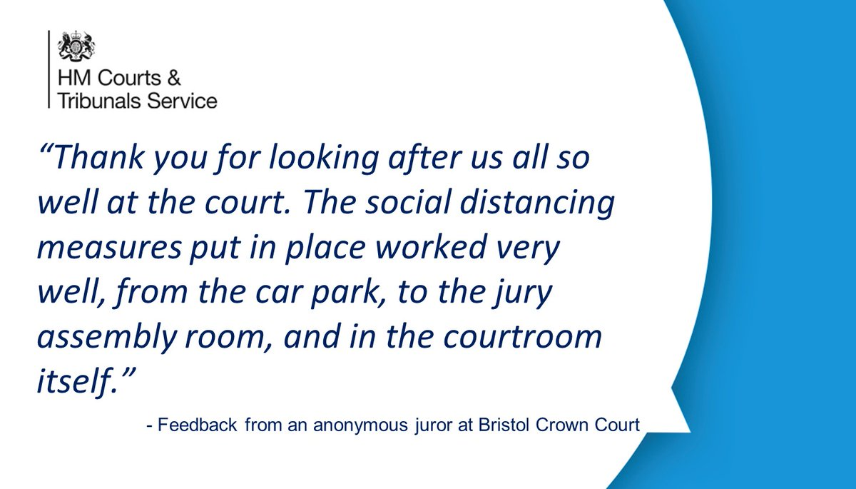 We welcome the positive feedback we've received from jurors on their jury service experience and our social distancing measures as jury trials return. We'll share the feedback we've had – here's one from #Bristol Crown Court. @JudiciaryUK @MojGovUK https://t.co/GYrtgyIQN0
