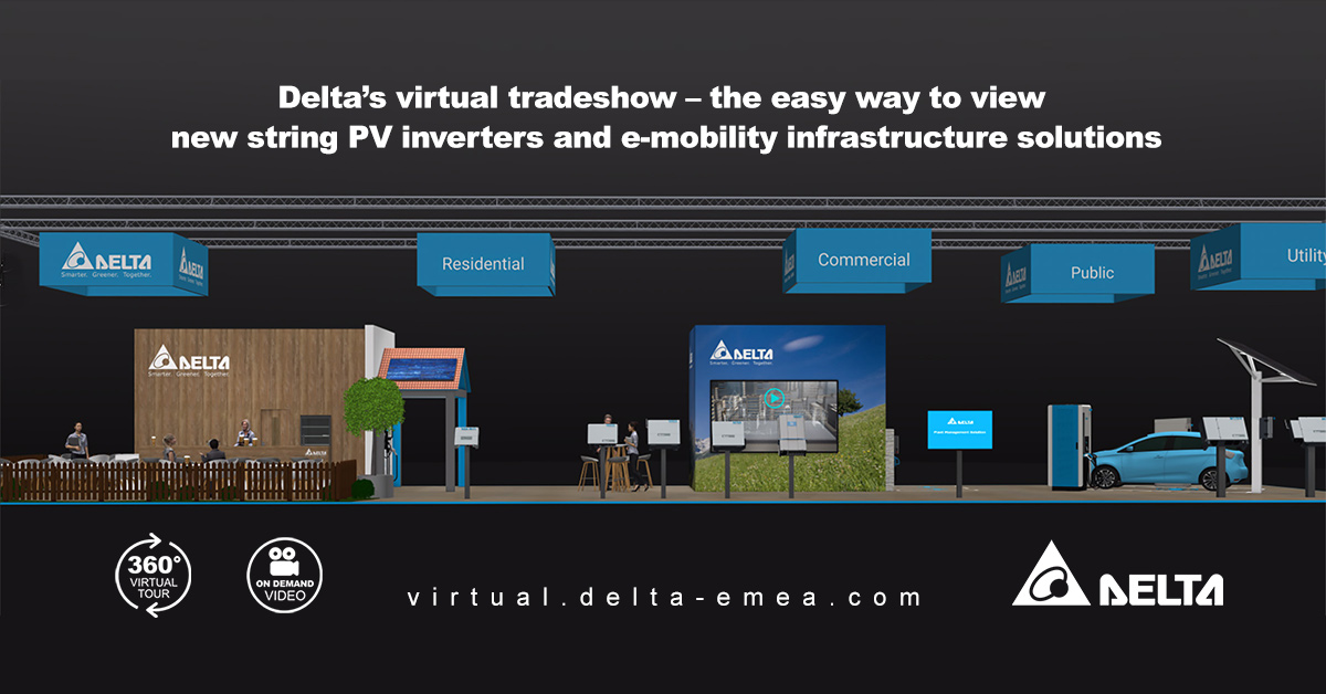 Dont miss Deltas #virtual #tradeshow to see all our latest #energyinfrastructure solutions in #PV and #emobiility areas! The online tradeshow is live now. Start your tour here: virtual.delta-emea.com @Intersolar #sustainability #intersolar2020 #DeltaEMEA