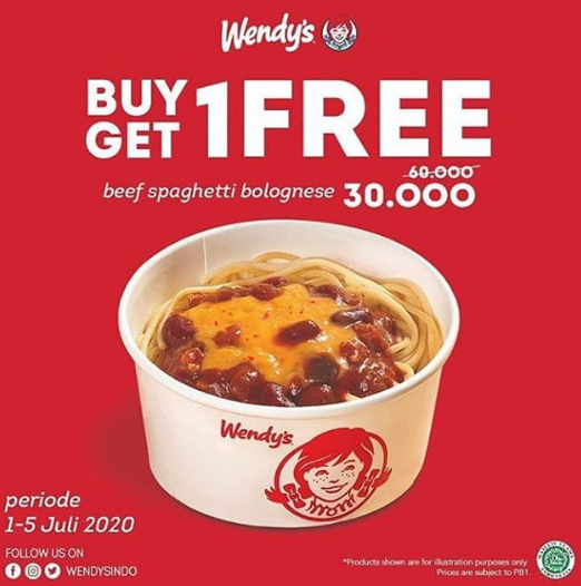 Buy 1 Get 1 Free Beef Spaghetti Bolognese. Promo mulai tgl 1-5 Juli 2020. Yuk traktir temen-temen dan ajak ke Wendy's sekarang juga jangan sampai kehabisan ya, Blissers! #flavorbliss #alamsutera #theflavorbliss #promo #food #foodie #lunch #breaktime #dinner #promomakan https://t.co/mYmuZsNyzc