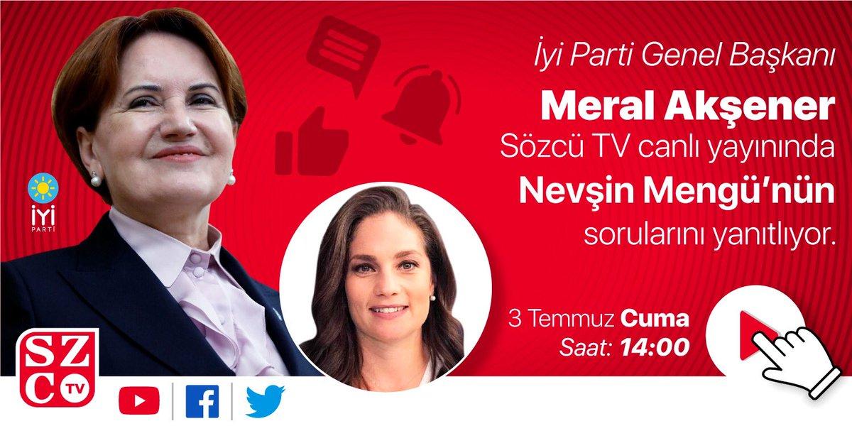 İYİ Parti Genel Başkanı Meral Akşener Sözcü TV canlı yayınında sorularınızı yanıtlayacak... #Akşeneresorun siz de sorularınızı bu etiketten yazabilirsiniz https://t.co/fBgzMka6eW