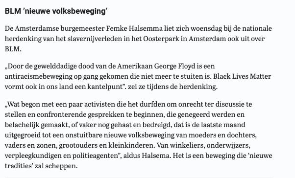 Dames en heren, hier is de burgemeester van álle Amsterdammers met haar lof voor een 'onstuitbare nieuwe volksbeweging', namelijk de extreem-linkse en racistische (want: 'Iedere witte is een racist') groepering BLM: https://t.co/LJP86N8m7v