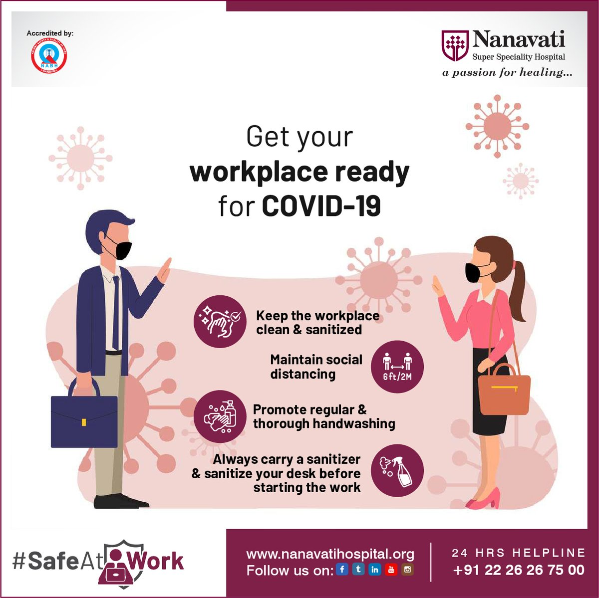 After many days of lockdown now that India is in unlocking mode, keep your workplace ready to stop the #COVID19. Follow these measures to stay #SafeAtWork  #NanavatiHospital #Mumbai #Health #Healthcare #HereForYou #IndiaFightsCorona #SocialDistancing #HandWashing https://t.co/Gz9pJtPMaW