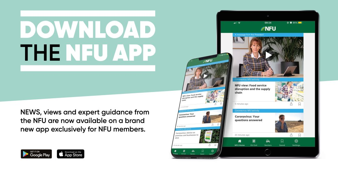 Its easy to stay up to date with our latest advice. Just search NFU in the Google Play or iOS App Store 📲