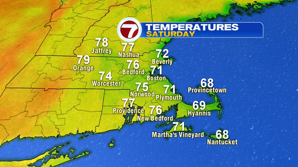 Cool ocean breeze Saturday. Damp start to the day across Southeast Mass. Dry afternoon/evening.