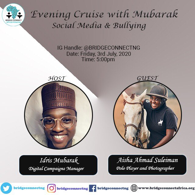 """Tomorrow, Superstar Polo Player Aisha Ahmad Suleiman (@blackeesh) would be taking us on an IG LIVE (https://t.co/LvvottyTuk) evening cruise  by 5pm on the topic """"Social Media and Bullying"""". You can send in your questions   Read more about her: https://t.co/dtlzukHb3C https://t.co/CnMCcwWR6S"""