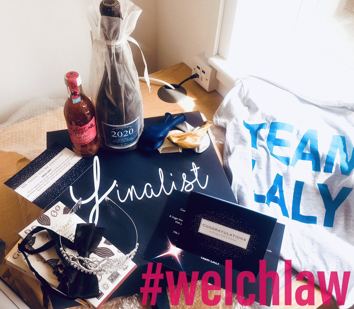Lots of excitement in the #welchlaw Ceredigion office this morning... Postman's been! The finalists #laly20 hamper has arrived 🥂🎉! Lots of fab goodies, thank you #teamlaly #justiceheroes #accesstojustice #lalyawards https://t.co/nnVg2ROxpK