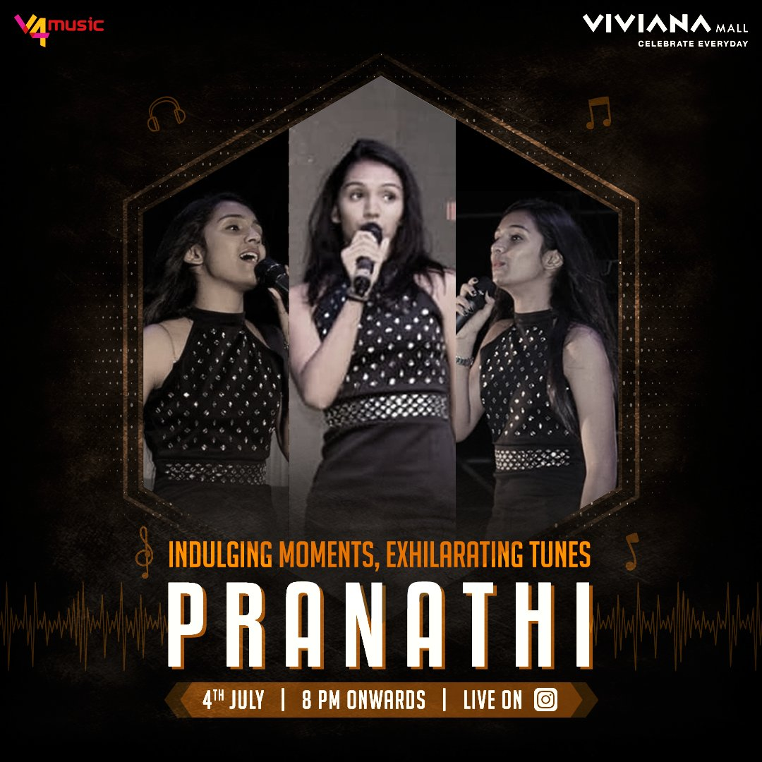 Travel to a musical world filled with mesmerising tunes and thought provoking lyrics, with @pranathi_a.s. Watch our Instagram Live on 4th July at 8 PM. #V4Music #VivianaCares #VivianaMall https://t.co/N0qRWigRsK