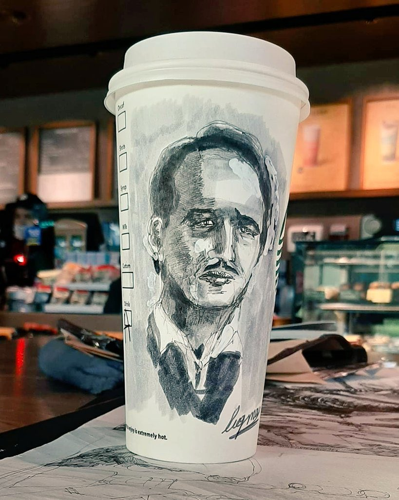 Luqman Hakim you are a very talented artist. It's not easy to draw this portrait on a  @StarbucksMY cup. Thank you and keep up the good work. Indeed you have a gifted skills. #heisLuqmanHakim #luqmanhakimartspic.twitter.com/5nxrwusOW1  by Noor Hisham Abdullah