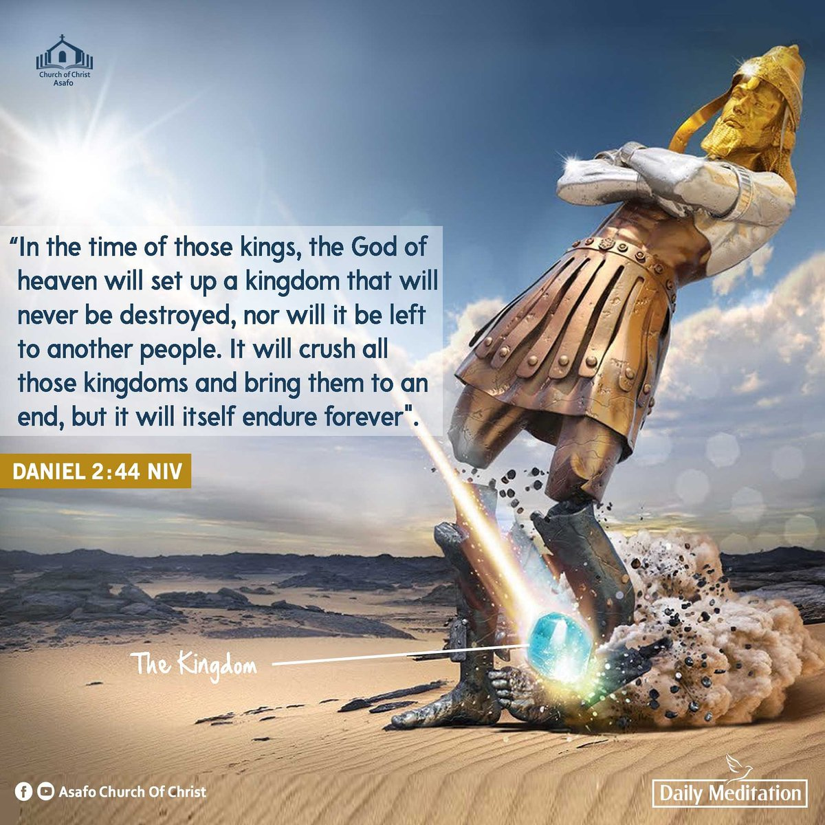 God hints of the establishment of an eternal Kingdom, Christ's  Church, which the gates of Hades shall not prevail against. It's a blessing to be part of this great kingdom. We must remain in, and support this kingdom with OUR ALL! <br>http://pic.twitter.com/DJZ1jL1ZFj