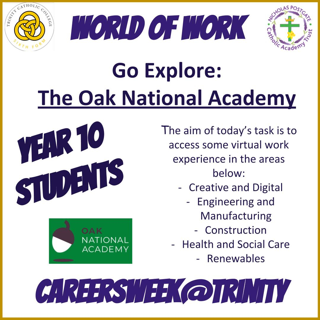 Year 10, start your virtual work experience today! Time to start looking at job roles in different sectors. Don't miss out, go to your CareersWeek@Trinity Google Classroom today! #TrinityCareers  #NextSteps #Trinity6thForm #CareersWeek2020 #CareersWeek #IAG #job #apprenticeship https://t.co/LjGgVSLosg
