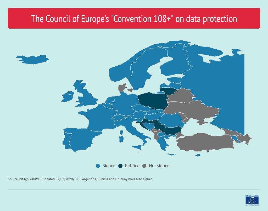 To this date, 41 countries have signed our modernised #Convention108+ on #DataProtection. Is your country one of them? Interactive map: https://t.co/J87Y5meNj7 #Right2Privacy #PersonalData https://t.co/KVRI1l36wz