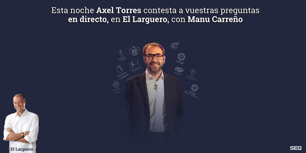 📻⚽ Esta noche @AxelTorres estará en directo por videollamada con @ManuCarreno para resolver todas vuestras dudas sobre fútbol internacional, fichajes... ¡Lo que queráis!  ❓Deja tus preguntas y esta noche te contesta en directo https://t.co/q92kPX4YDE