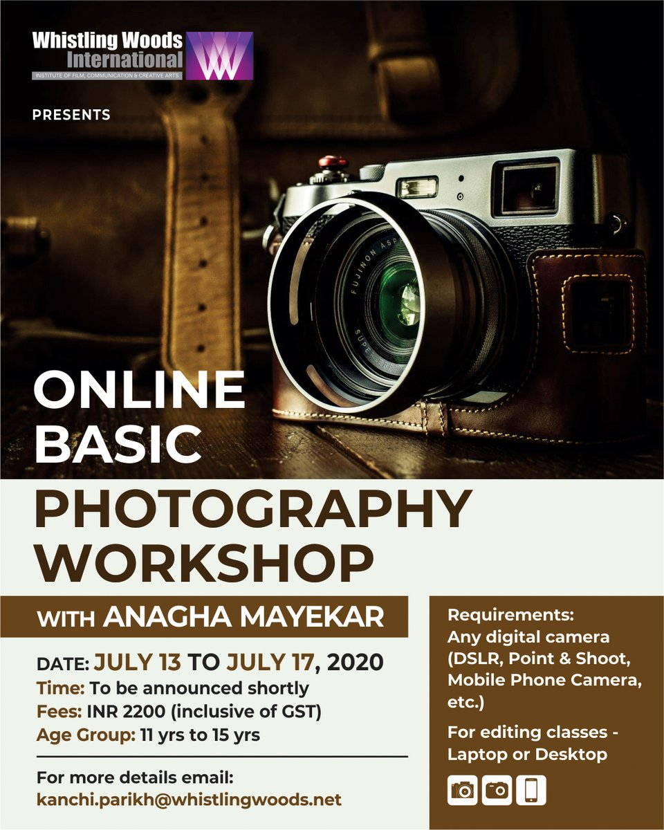 Date: July 13 - July 17, 2020 Registration fees: INR 2200 (inclusive of GST) Age Group: 11 to 15 years Link - bit.ly/3gkf2fu For more details, email at - kanchi.parikh@whistlingwoods.net #DoWhatYouLove #WWIOnlineWorkshop