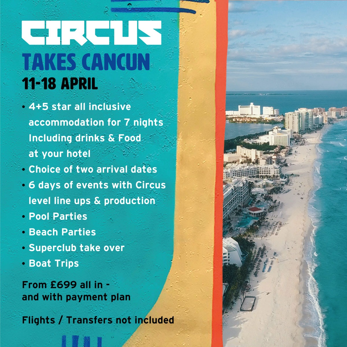 🇲🇽 @CIRCUSmusic are heading to Cancun 🌴🌞 11th - 18th April 2021!  Join them for a week of 30 degree SUNSHINE, SUPERCLUB takeovers, POOL parties and 7 nights in all inclusive accommodation!  Tickets on sale on 8th July, sign up here - https://t.co/M6Z5eGe5nZ https://t.co/WbEwAFOidA