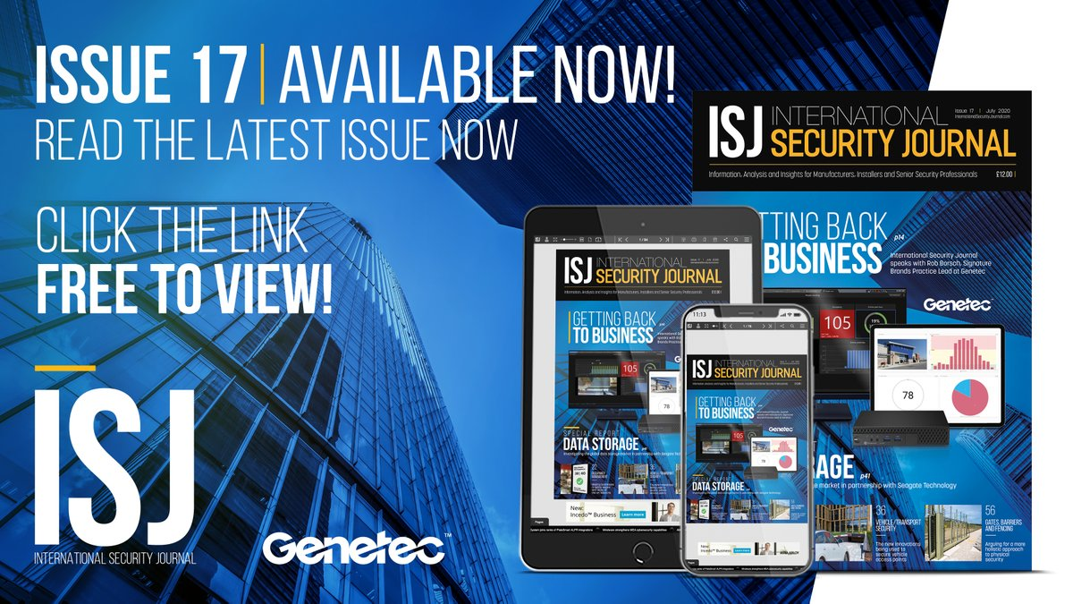 OUT NOW! This month's ISJ explores how leading vendors such as @genetec are helping businesses to safely reopen with Occupancy Management solutions. There's also a Special Report on data storage, produced in conjunction with @Seagate. FREE copy here: https://t.co/sSP2sPhQti https://t.co/lovSCex4Te