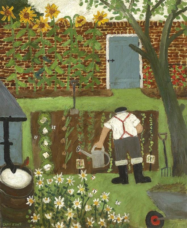 To round of the garden and flower section here is our favourite old man who appears regularly on my site painted by Gary Bunt.  Popular artist . pic.twitter.com/LWjDT3Dg8O  by helen warlow