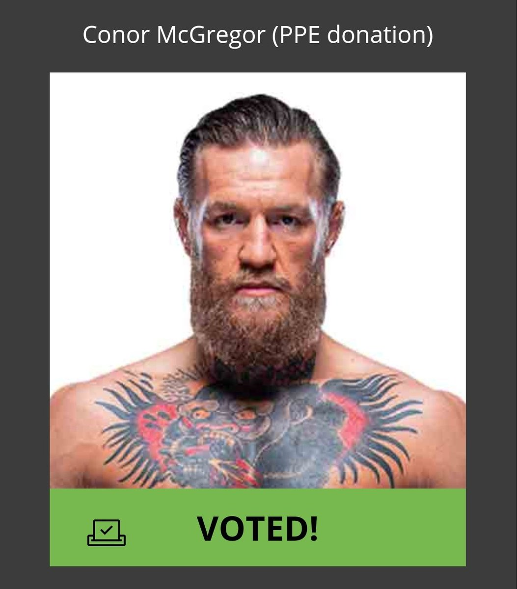 My votes are in for @Maclifeofficial and @TheNotoriousMMA. During a worldwide pandemic that's affected us all in one way or another, Conor still found the time to help his country with vast amounts of PPE donations to Ireland... Special people step up to the plate. 🇮🇪👊🏻 https://t.co/X7xlt7m0iS