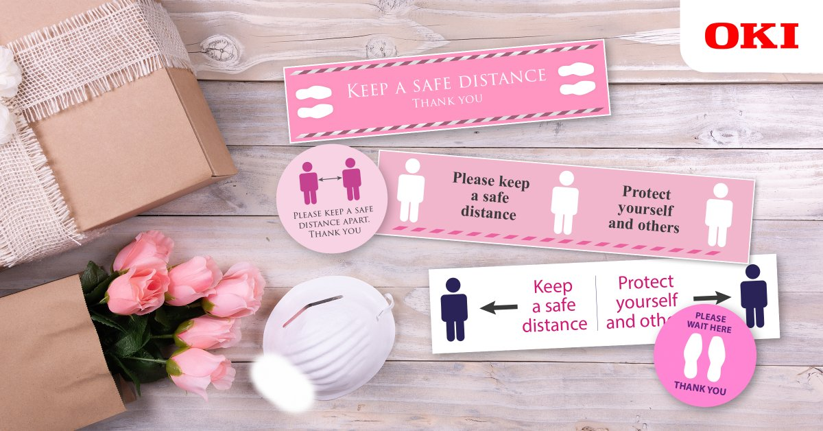 OKI Europe is helping to keep businesses safe with free* #floorstickers and graphics to promote #socialdistancing. Our video shows how to keep staff and customers safe: https://t.co/YSaTIj4ScU https://t.co/IswFj6S6G2