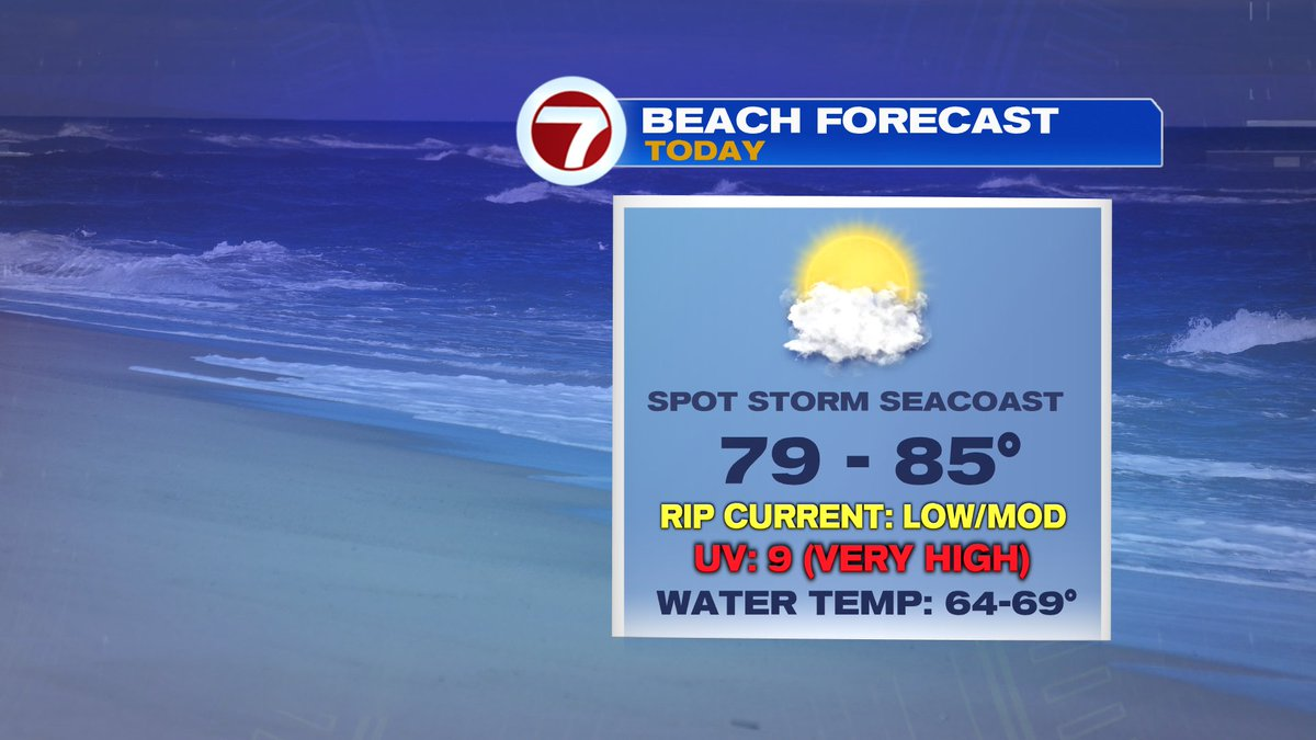 Solid beach day ahead... spot late-day storm north, but much of the coast stays dry.