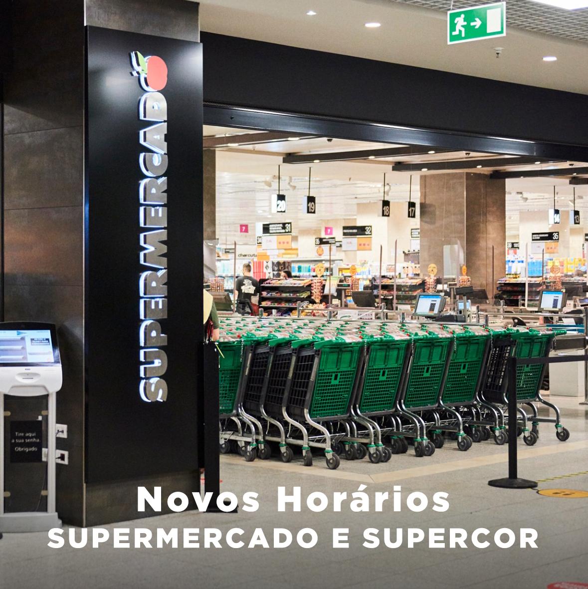 Estão em vigor novos ⏰ horários de funcionamento para o Supermercado El Corte Inglés Lisboa e os Supercor do Restelo, Expo e Beloura. Clique em https://t.co/kYEemWWPpb  e disponha de toda a informação que precisa. #elcorteinglespt https://t.co/2F8KkIg0Hn