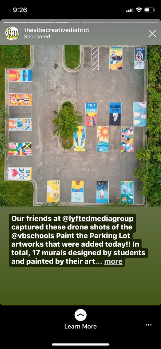 Here's a sky view of the @ViBe_District parking lot to start your day off right. Can you spot the @BrickellAcademy design created by @gnsdraws ? Go out there and get it!!! @BrickellAcademy https://t.co/j4ZweiNUmO