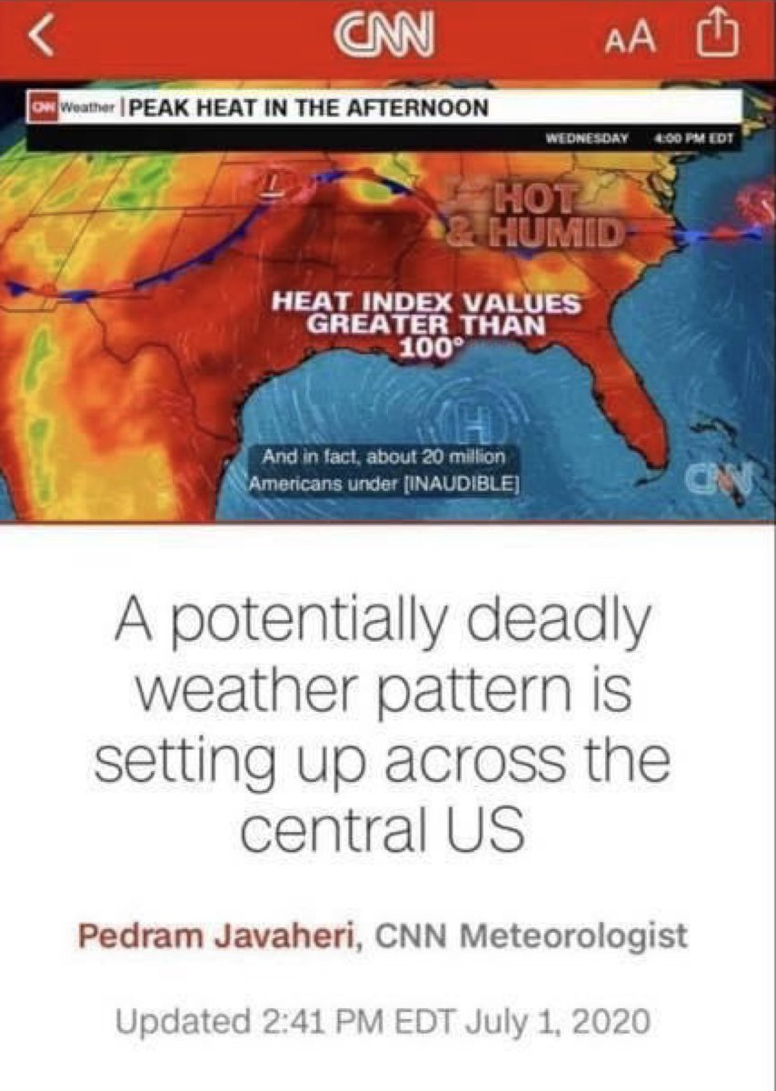 """Hot weather. When I was growing up, it was called """"summer"""". Now, some media outlets call it a potentially """"deadly pattern""""…."""
