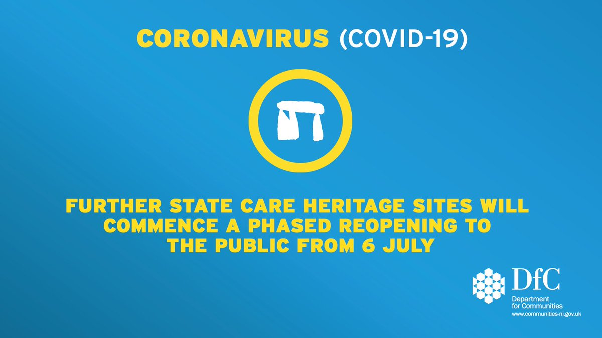 Further State Care heritage sites will commence a phased reopening to the public from 6 July @CommunitiesNI Minister @CaralniChuilin has announced https://t.co/uuTMjJqN1R https://t.co/0uqqxmjJ9n