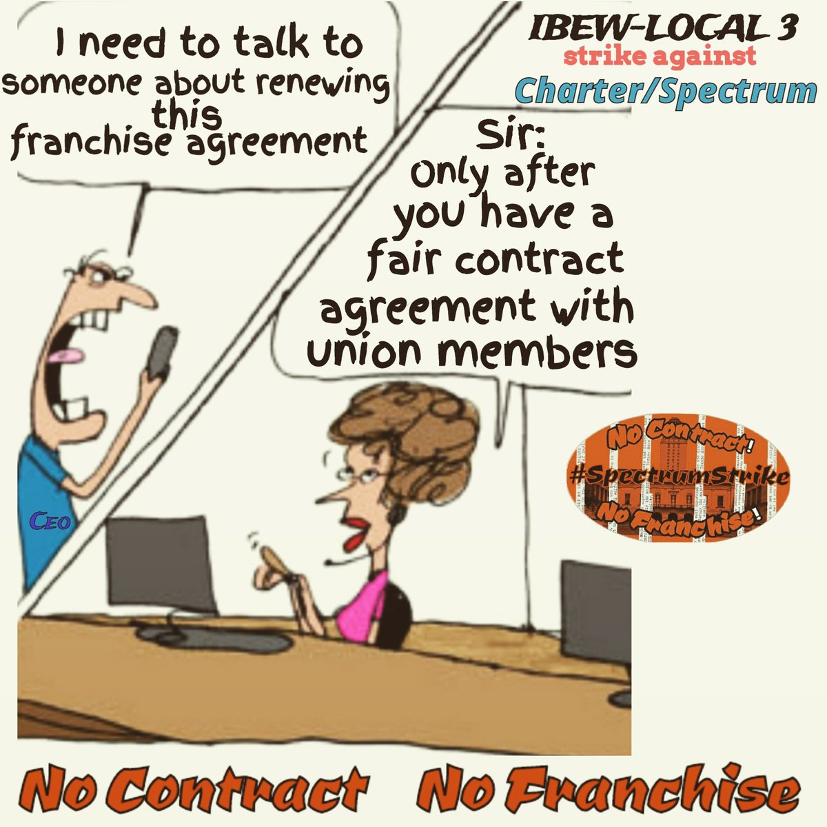 Day1193 Brothas & Sisthas ideally that's how it should go. But due to backdoor dealings; that's not quite how it's going. They're excuse now: CoronaVirus Negotiations.! What negotiations? #SpectrumStrike #Local3 #FairContractNow #corporategreed #NoContractNoFranchise2020<br>http://pic.twitter.com/HvQBEYpAZb